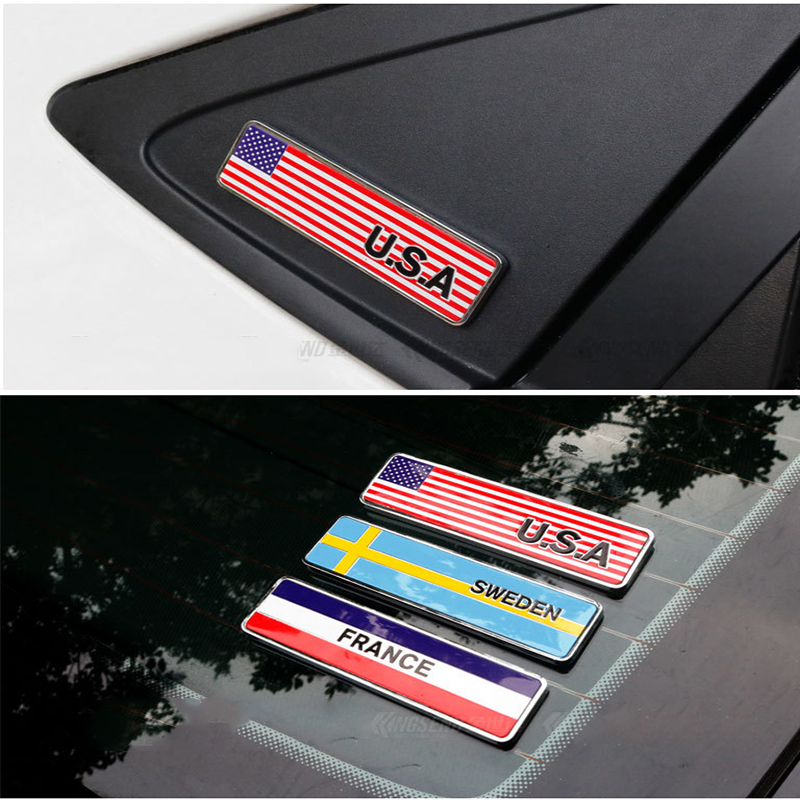 <font><b>Chrome</b></font> Car Decoration Flag Emblem Body Sticker For <font><b>Peugeot</b></font> 206 307 407 308 <font><b>208</b></font> 3008 Toyota Corolla Yaris Rav4 Avensis BMW Mini image