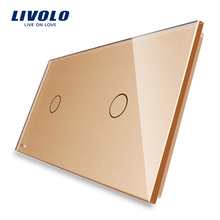 Livolo Luxury White Pearl Crystal Glass, 151mm*80mm, EU standard, Double Glass Panel,LUV VL-C7-C1/C1-11