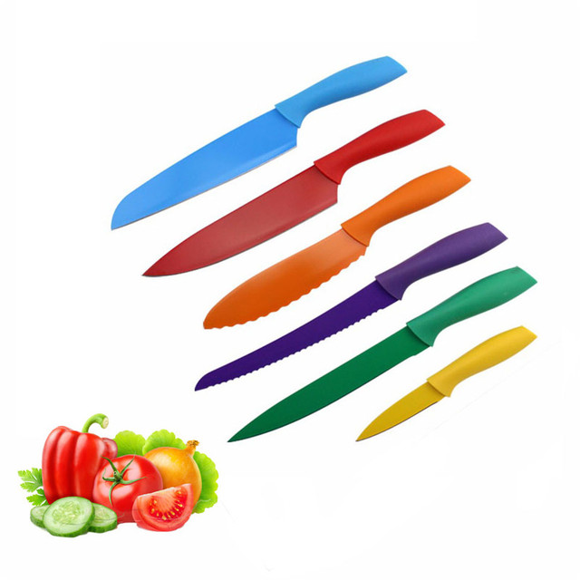 6 Pcs/Set Colorful Kitchen Knives Chef Bread Knives Slicing Knife Stainless  Steel Findking Fashion