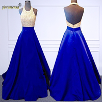 A188 Royal Blue Pink Halter Backless Prom Dresses Long Satin Pearls Floor Vestido de Formatura Formal Evening Party Gowns 2018