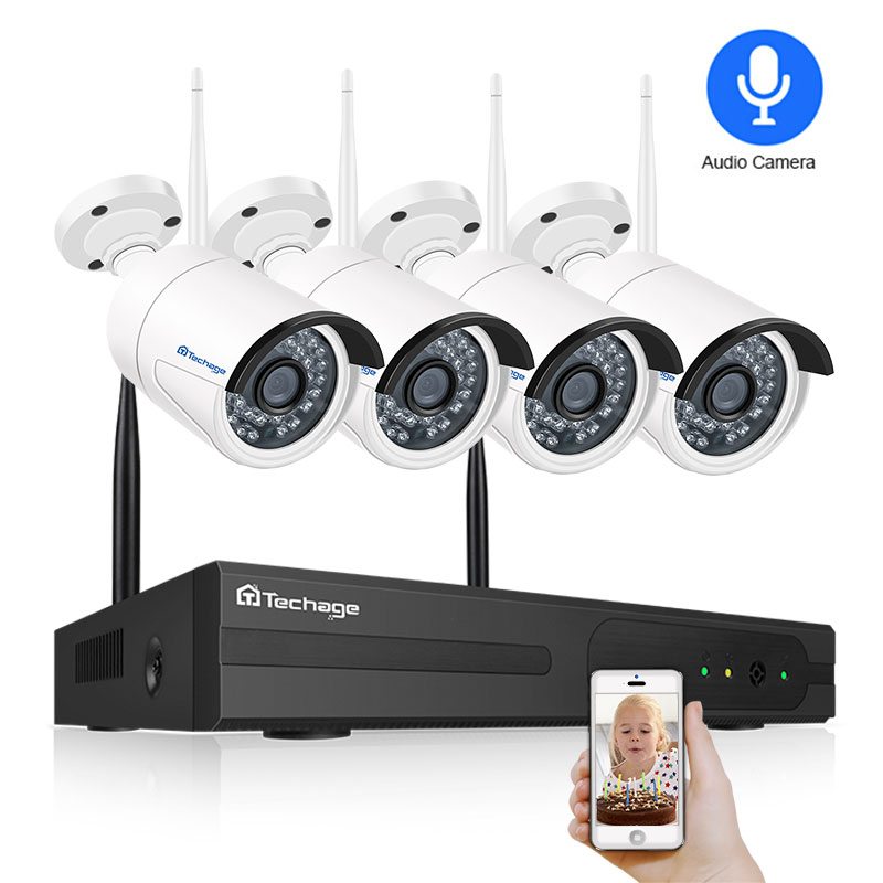 Techage 4CH 1080P Wireless 2TB HDD NVR 2pcs 2MP Wifi Audio Sound Outdoor IP Camera Security System Video CCTV EseeCloud Kit Set