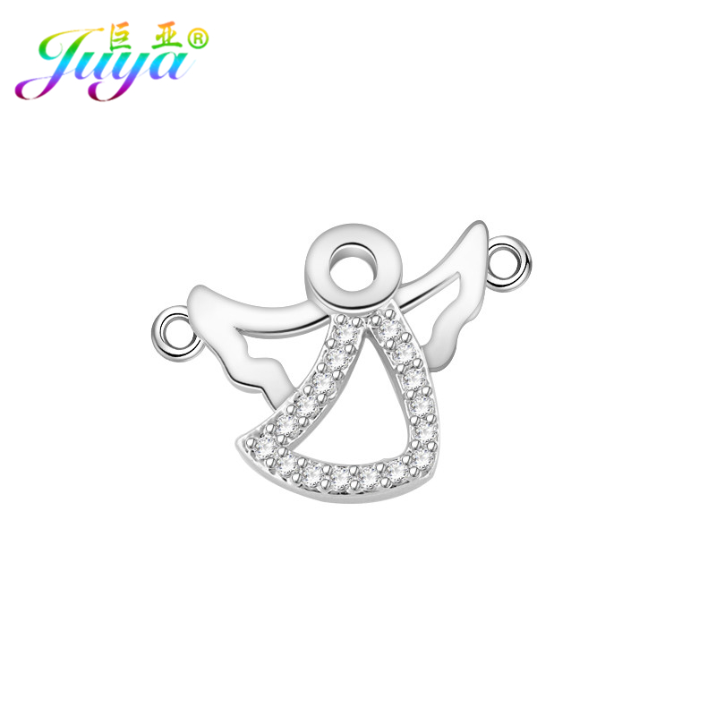 Juya DIY Women Kids Needlework Jewelry Material Micro Pave Zircon Angel Jewelry Findings Crystal Connector Charms Accessories