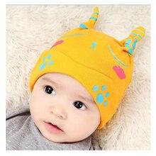 Autumn newborn baby hat cotton Unisex Fashion cartoon Sleep Cap Kids boys girls Headwear caps Cute little footprint hooded cap