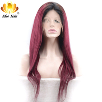 AliAfee Hair Brazilian Straight Hair Wig 150% Ombre Lace Front Human Hair Wigs 8 30 Wine Red 1b/burgundy, #99J Color Bob Wig