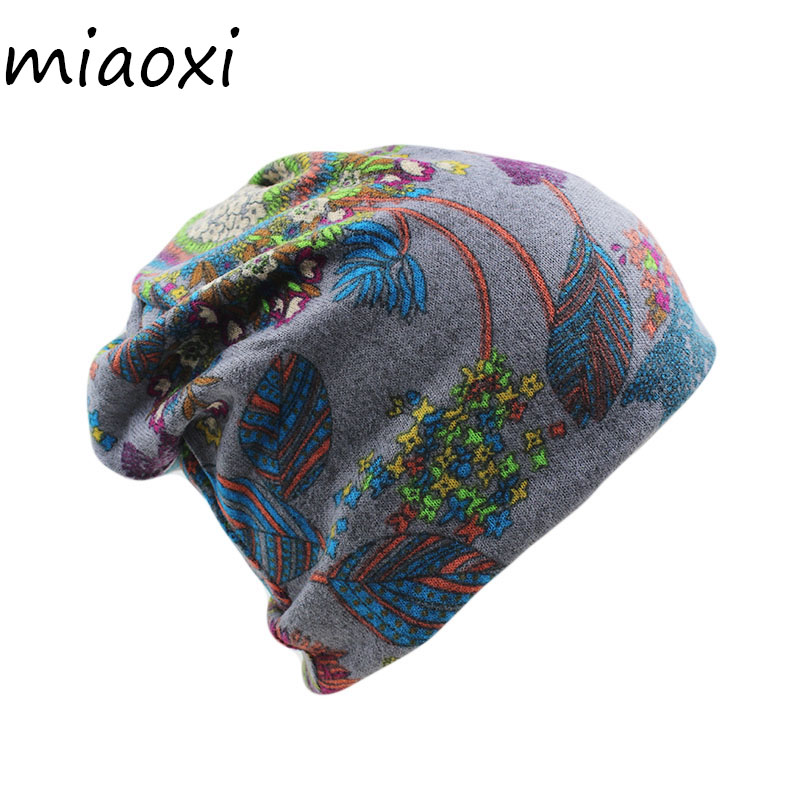 Miaoxi New Arrival Women Hat Fashion Floral Female Spring Cap Cotton Beanies Skullies Girls Headdress Caps Adult Scarf Hats