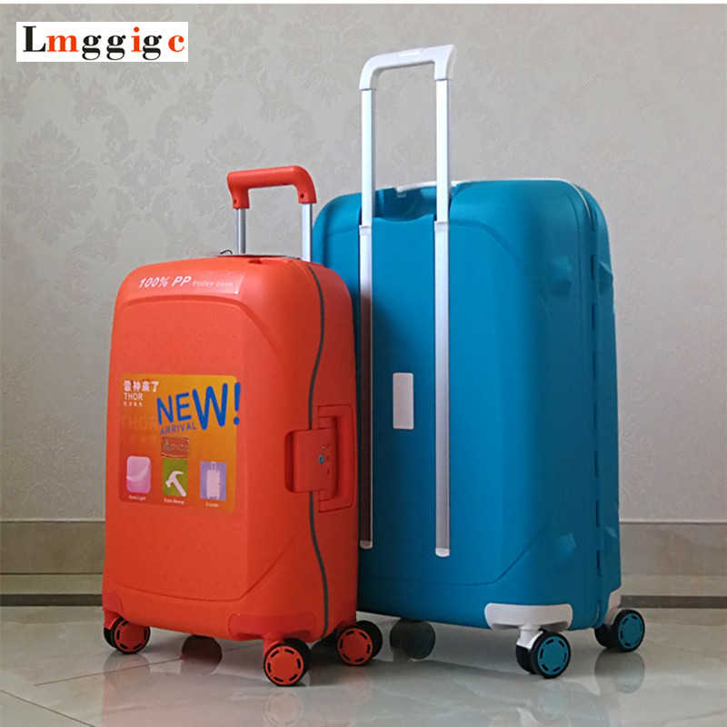 Spinner Rolling Trolley Case, Strong Aluminum Alloy Rods Luggage,Universal Wheel Suitcase,PP Carry-Ons,New Fashion Travel bag universal uheels trolley travel suitcase double shoulder backpack bag with rolling multilayer school bag commercial luggage