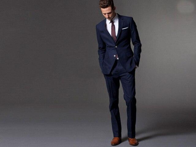 Dark Blue Wedding Suits For Men Bespoke Light Navy Blue Groom Suit