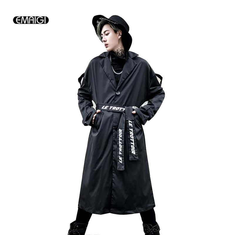 High Street Fashion Long Trench Jacket for Men Windbreaker Coat Male Punk Hip Hop Casual ...