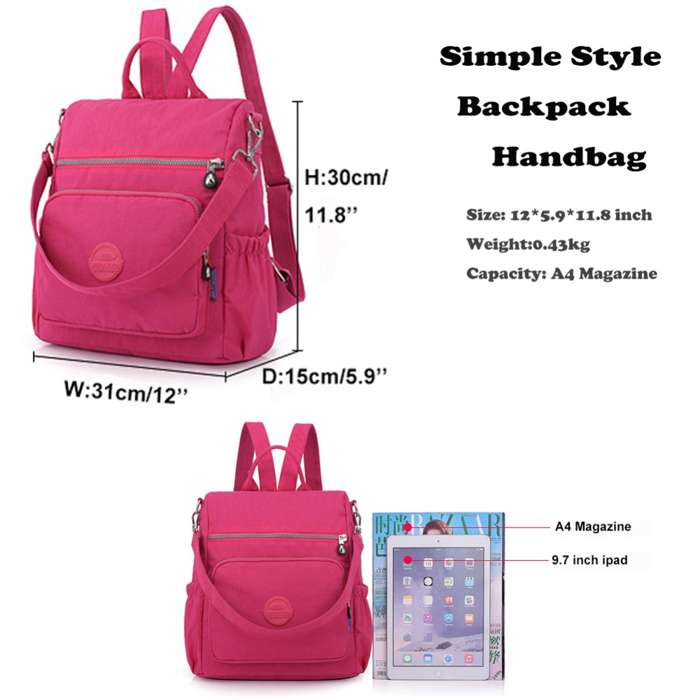3314972d86 2018 Women Backpack Purse Anti Theft Nylon Shoulder Bag Water Repellent  Casual Travel Multifunctional Rucksack -in Backpacks from Luggage   Bags on  ...