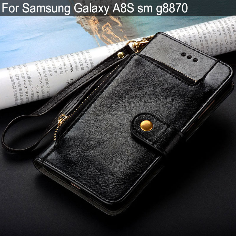 case for <font><b>Samsung</b></font> Galaxy <font><b>A8S</b></font> sm <font><b>g8870</b></font> luxury fashion Leather Stand Card Slot Wallet bag for <font><b>samsung</b></font> galaxy <font><b>a8s</b></font> case funda coque image