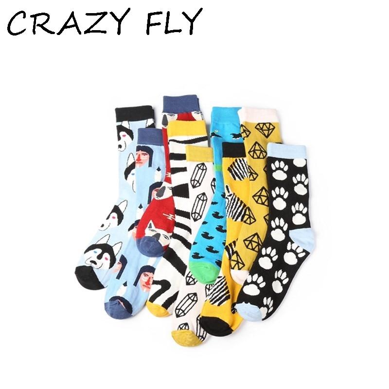 CRAZY FLY Cool Men Happy   Socks   Fashion Animal Dog Pattern Cartoon Long Ankle Art   Socks   Harajuku Women Cotton Funny   Socks   2019