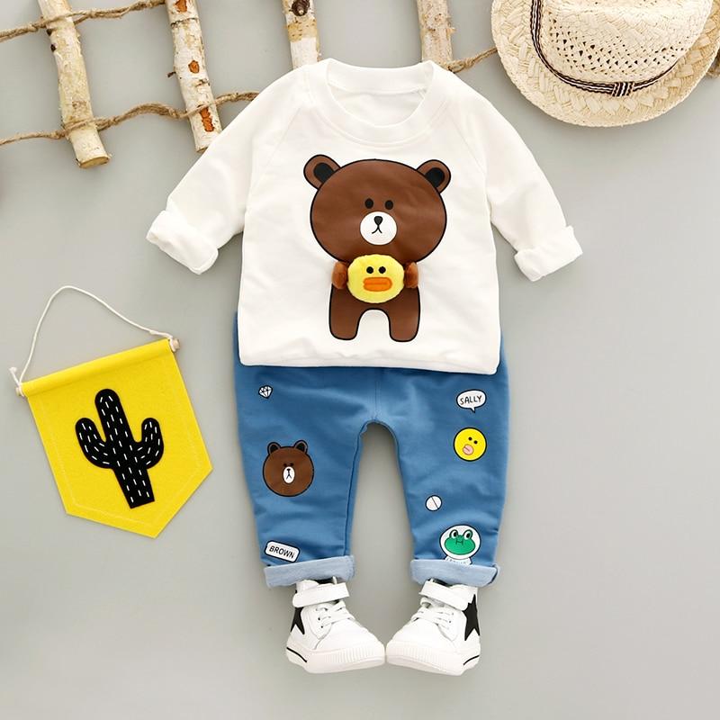 Boys Clothing Set Autumn 0-3y New 2018 Fashion Style Cotton O-Neck full Sleeve with Bear Print Baby Boy Clothes A260 stylish scoop neck half sleeve argyle print women s romper
