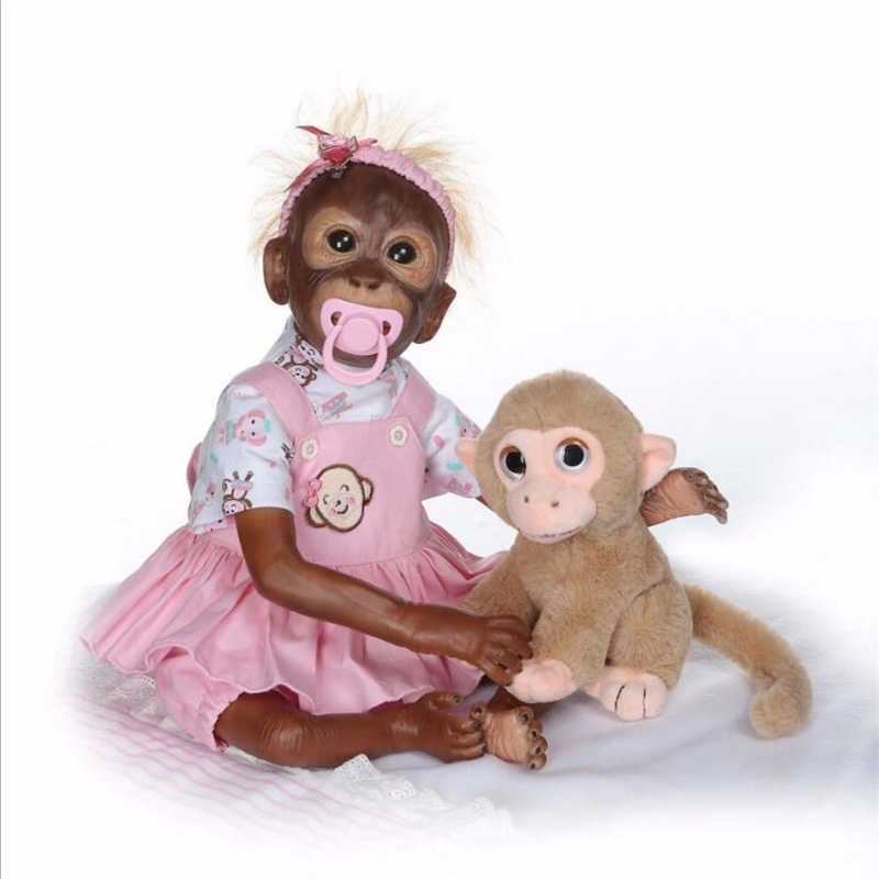 52cm simulation monkey doll model Silicone Reborn Dolls photography props playmate kids toys Christmas birthday gifts
