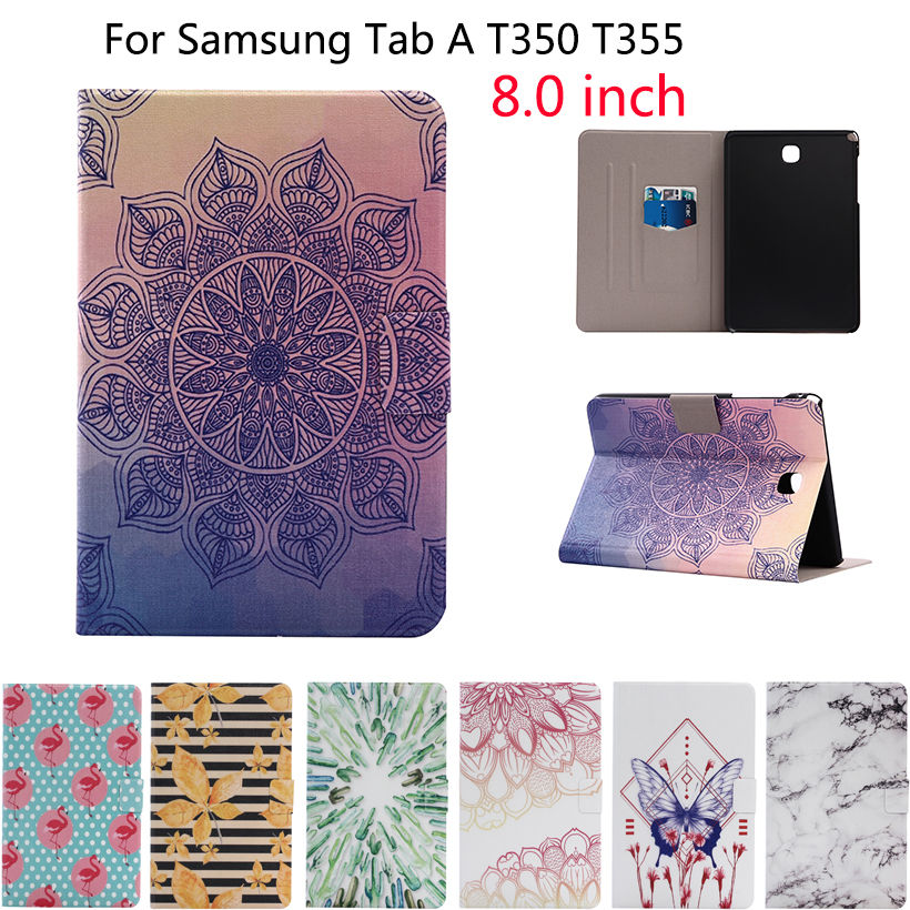 Fashion Print PU Leather Case For Samsung Galaxy Tab A 8.0 T350 T351 T355 SM-T355 Cover Funda Tablet Stand Protective Capa Shell ultra slim leather funda case for samsung galaxy tab a 8 0 sm t350 sm t355 with magnetic smart cover case for samsung tab a 8 0