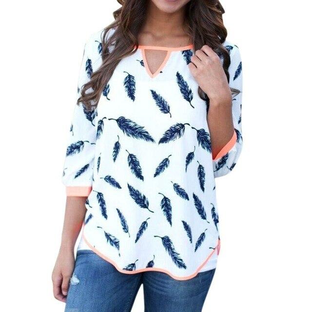 Повседневная Одежда Женщины Блузка Три Четверти рукавом V-образным Вырезом Хлопок Blend Рубашка Листья Печати Топы