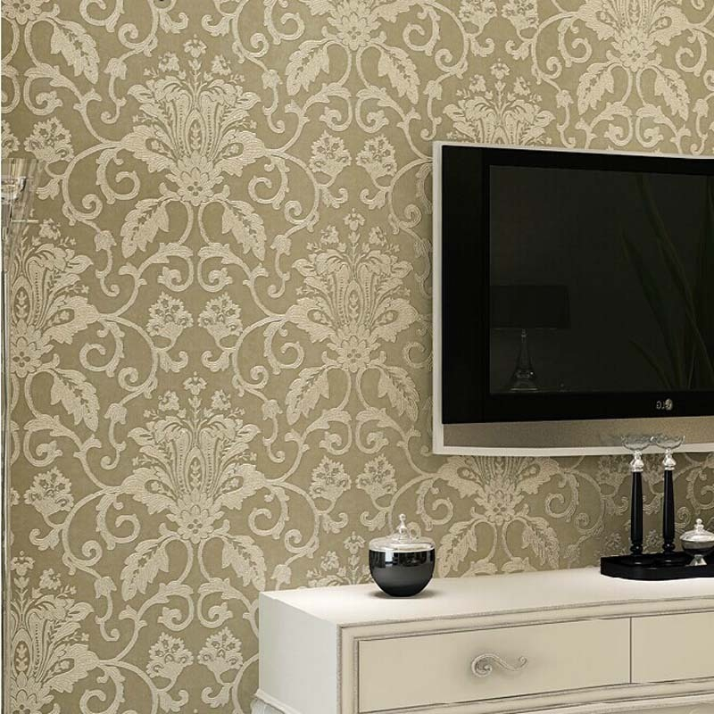beibehang wallpaper European 3D Stereo Silk Imitation Embroidery Pattern Living Room TV Background Wallpaper papel de parede beibehang embroidery wallpaper european
