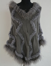 S1029 Women Real fur poncho Genuine rabbit fur knitted shawl long cape Lady Winter Fashion