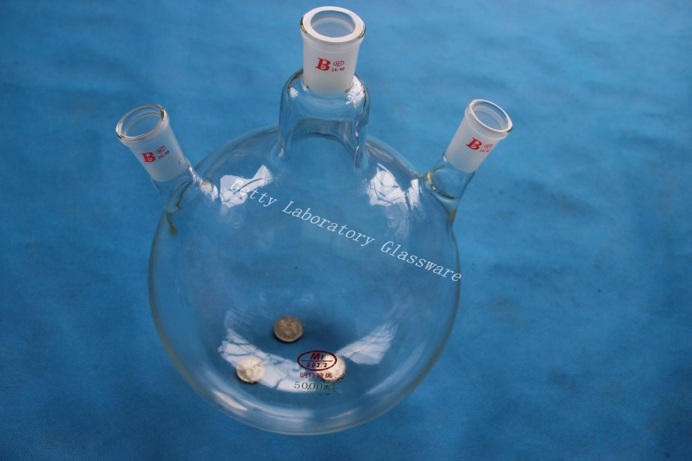 5L shipping500ml 3-hals-rundkolben, 5000 ml, gemeinsame 24/40, schwere wand (Lab instrument)