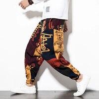 Cotton Linen Men Cross Pants Hip Hop Elastic Waist Loose Baggy Printed Harem Pants Wide Leg Trousers Chinese Style Size M 5XL