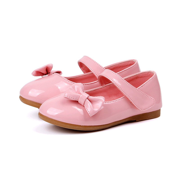 MSMAX Girls Party Wedding Shoes Flat Breathable Leather Dress Kids Girls Shoes Children Butterfly-knot Single Shoes