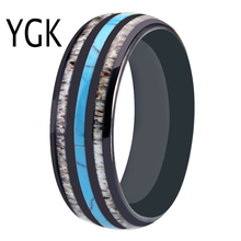 Tungsten Wedding Rings 8MM Mens Black Carbide With Antler & Turquoise Ring Engagement Anniversary Gift Women
