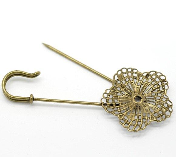 50Pcs Bronze Tone Flower Safety Pins Brooches Support de Broche Fleur 83x34mm