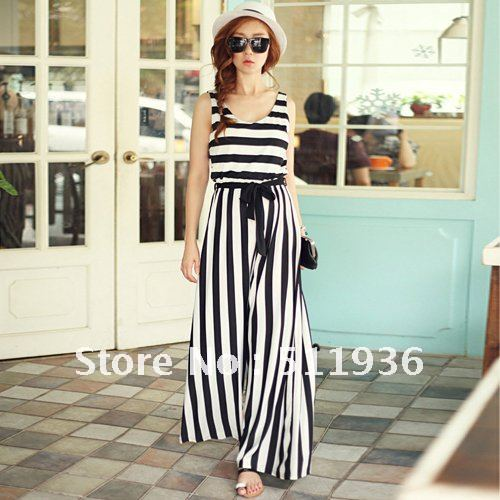 Fashion Womens Stripe Loose Stylish Tank Jumpsuits Romper Overall ...