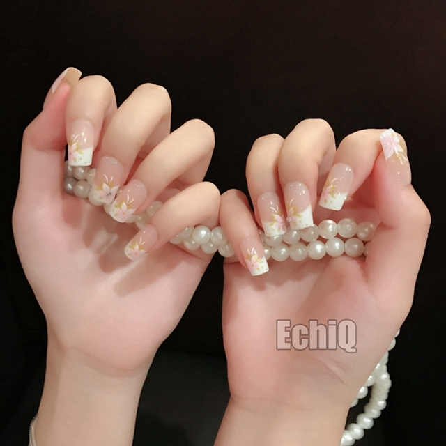 Flower Designs French Nail Tips Beige Natural Color Medium Full