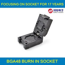 цена на BGA48 Clamshell socket pitch 0.8mm IC size 6.15*8.15mm BGA48(6.15*8.15)-0.8-CP04/50N BGA63 VFBGA63 Burn in/programmer socket