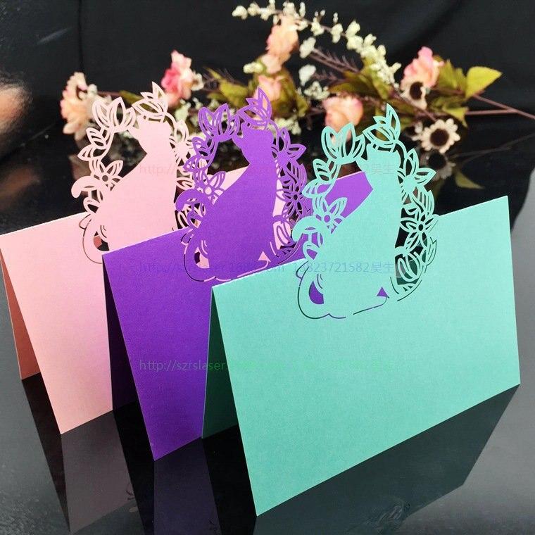 Romantic Wedding Supplies 100pcs Pack Pierced Laser Cut Cat Party Table Name Place Cards