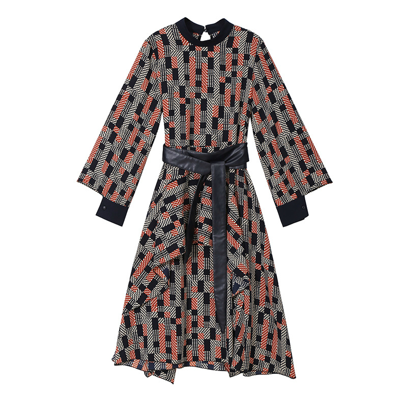 With Orange Corset Dresses Big Wear red Korean Dress Street Spring Plaid Swing Bandage Loose Ladies Sashes Red Women Vintage TzwdZ