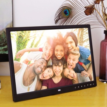 12 Inches Digital Photo Frame Electronic Picture Frame Clock Calendar Remote Control Built-in Speaker Resolution 1280*800