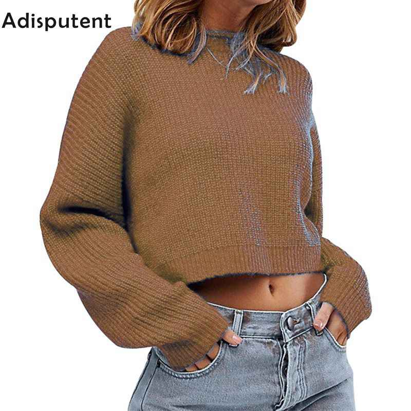 Adisputent  Sweater Women Fashion 2019 Autumn Winter Black Tops Women Knitted Pullovers Long Sleeve Jumper Pull Femme Clothing
