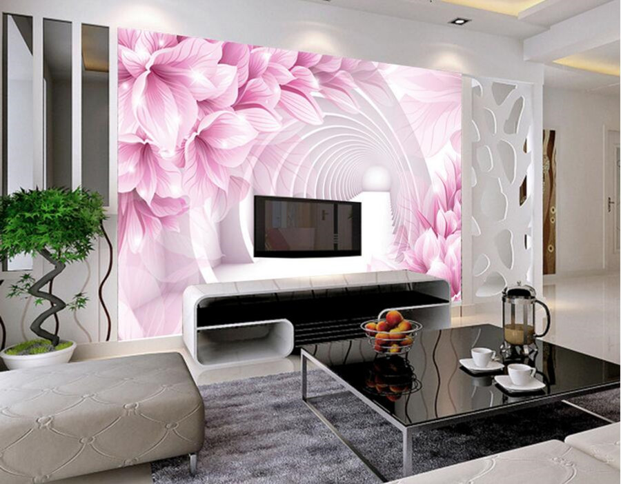 Custom 3d large murals wallpaper,Pink flowers papel de parede,hotel ...