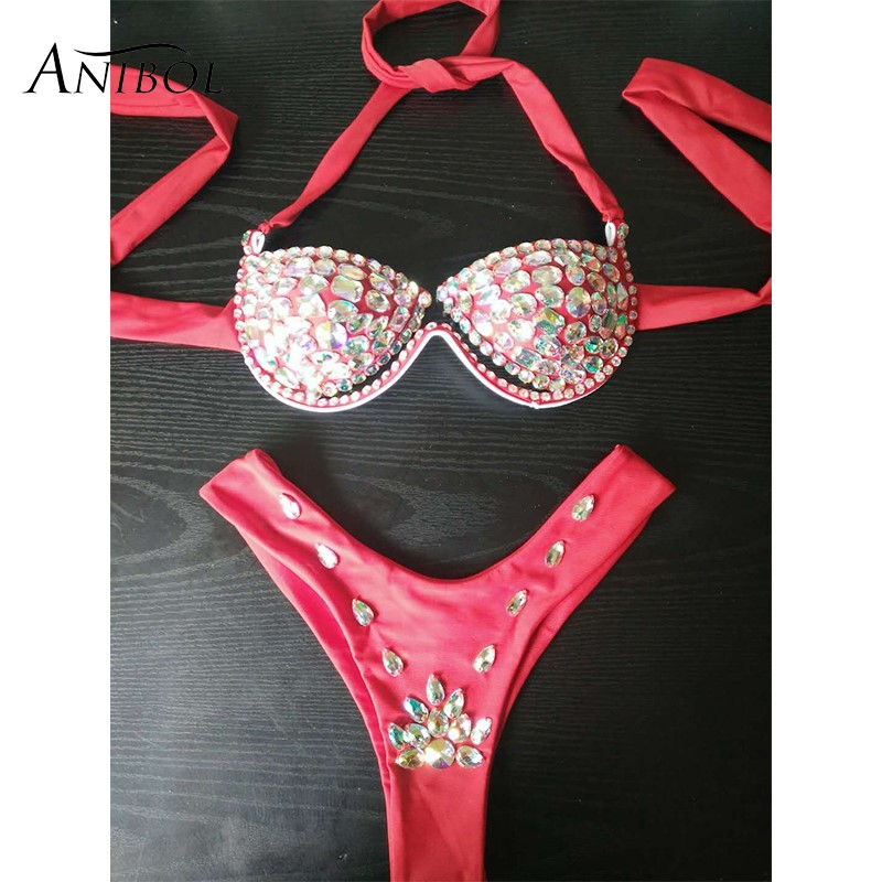 Aliexpresscom  Buy Anibol Luxury Rhinestone Thong Bikini 2018 Crystal Diamond Sexy -9848
