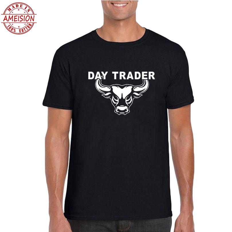 Day Trading T-shirt Bitcoin Magical Bull Stock Market T Shirt Men Funny Graphics Tee Shirt Wall Street Fashion Day Trader Tshirt image
