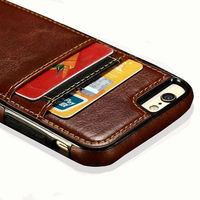 Luxury Leather Silicone Card Holder Credit Card Cases For IPhone 6 6s Plus SE 5s Shockproof