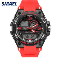 Waterproof Male Sport Clock SMAEL Brand Red Color LED Electronics Chronograph Auto Date Wristwatch Outdoor Sports