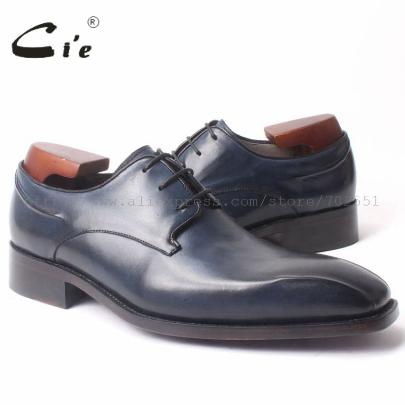 cie Calf Leather Bespoke Handmade men's Square Toe Derby  Leather Goodyear welt craft Mark Line Shoe Color Deep Flat Blue No.D98 cie calf leather bespoke handmade men s square toe derby leather goodyear welt craft mark line shoe color deep flat blue no d98