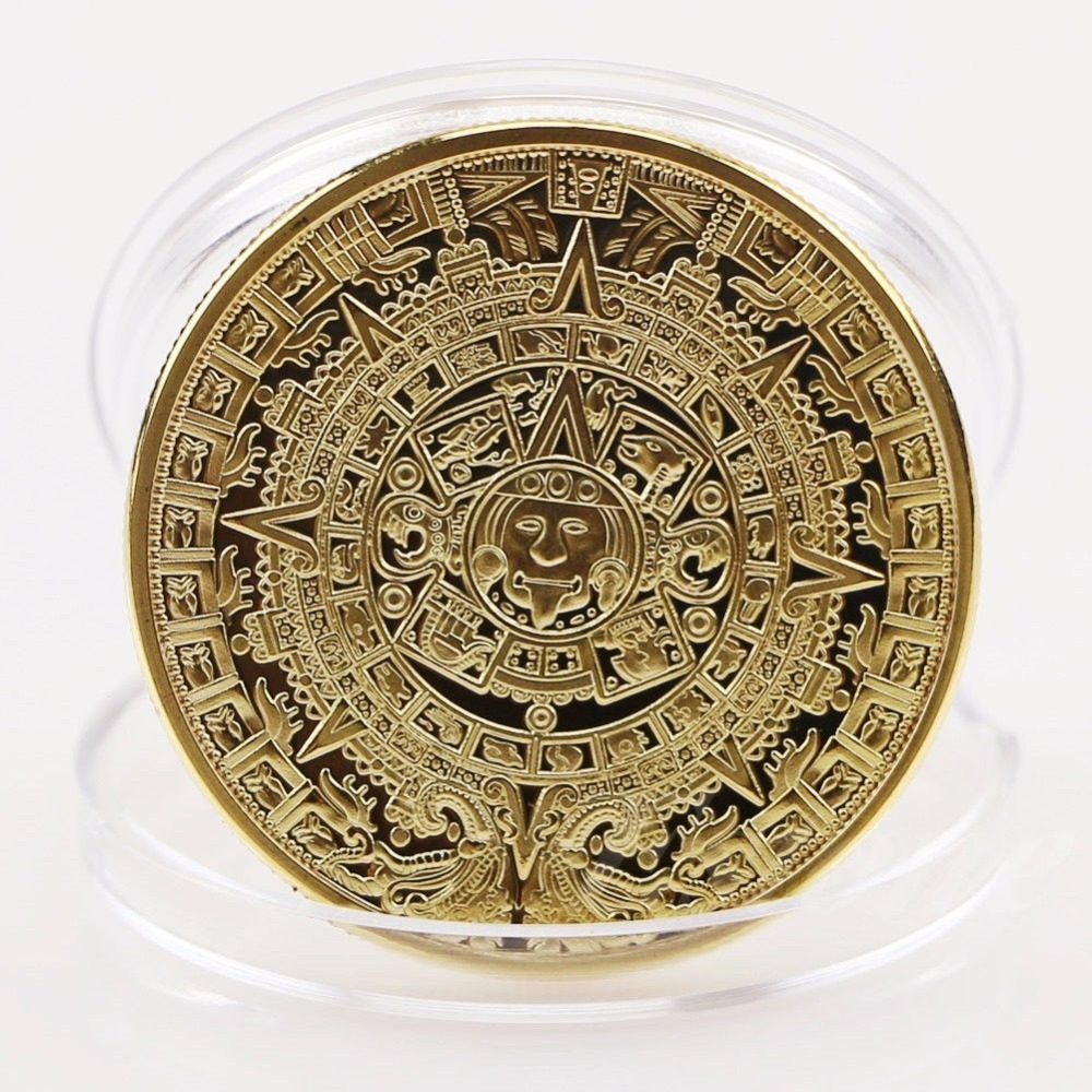 1x Gold Sliver Plated Mayan Aztec Calendar Souvenir Commemorative Coin Collection Gift