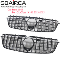 SBAIREA X166 Car Front Grill Replace for Benz GL X166 Racing Grill GL500 GL550 GL65 Upper GTR Grille Without Emblem 2013 2015
