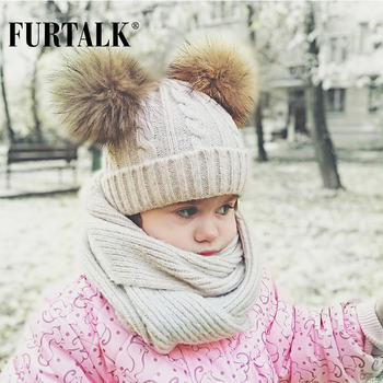 FURTALK children wool winter hat scarf sets 2-5 years girl and boy real fur pom pom baby hats knit infinity scarf SFFW033