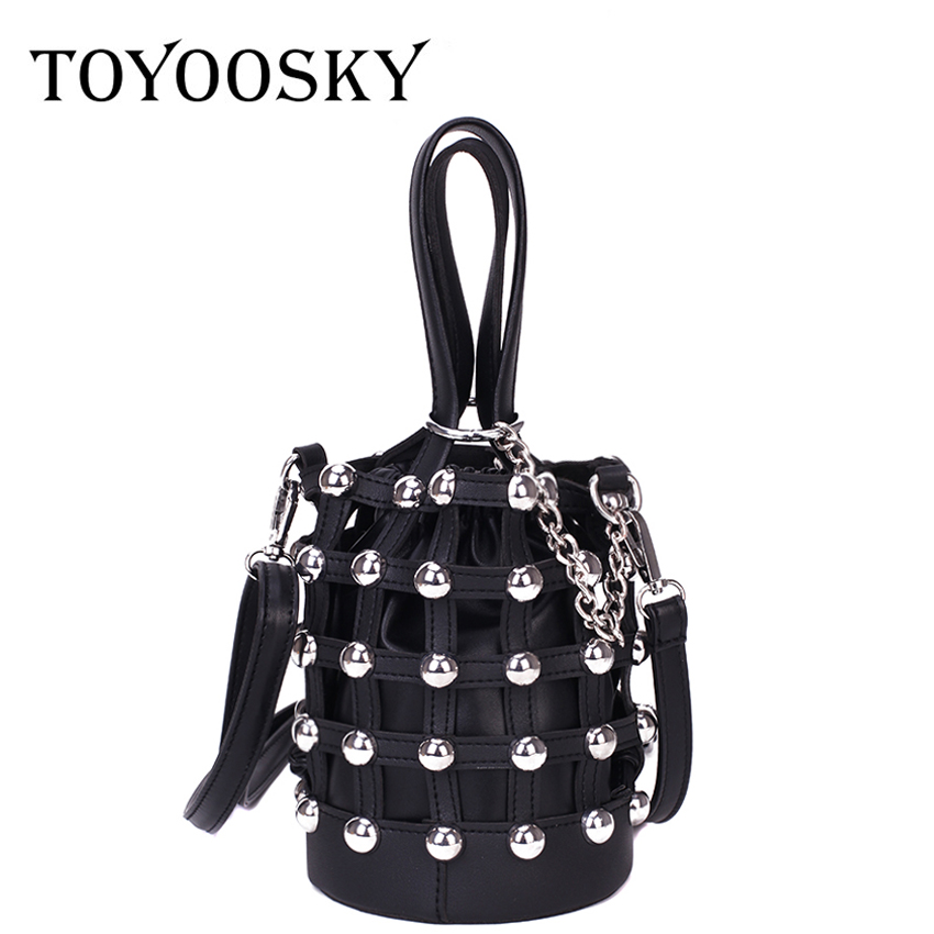 TOYOOSKY Rivets Bucket Bag Studded Evening Party Purse Personality Design Hollow Out Handbags Rock Style Mini Crossbody Bags