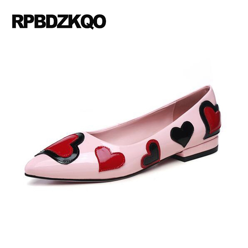 Cute Flats Slip On Ladies 2017 Pointed Toe Printed Patent Leather Women Dress Shoes Designer Black Heart European Pink Fashion summer slip ons 45 46 9 women shoes for dancing pointed toe flats ballet ladies loafers soft sole low top gold silver black pink
