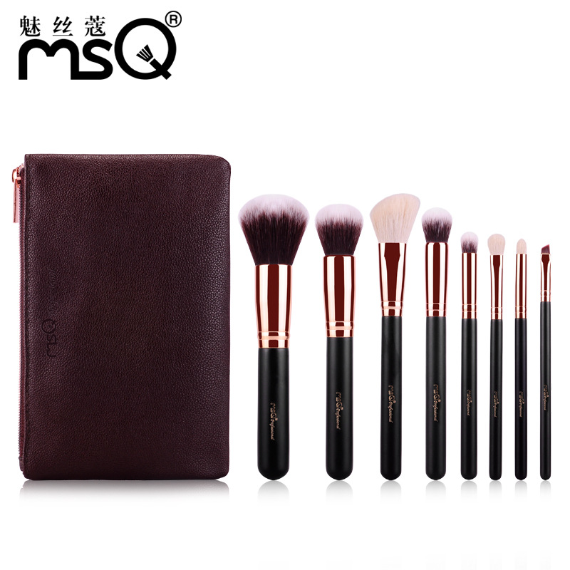 Pro 8Pcs/Set Print Logo Makeup Brushes Goat Hair Cosmetic Make Up Brush Powder Foundation Eyeshadow Eyeliner Lip Brush Kit Tools new 32 pcs makeup brush set powder foundation eyeshadow eyeliner lip cosmetic brushes kit beauty tools fm88
