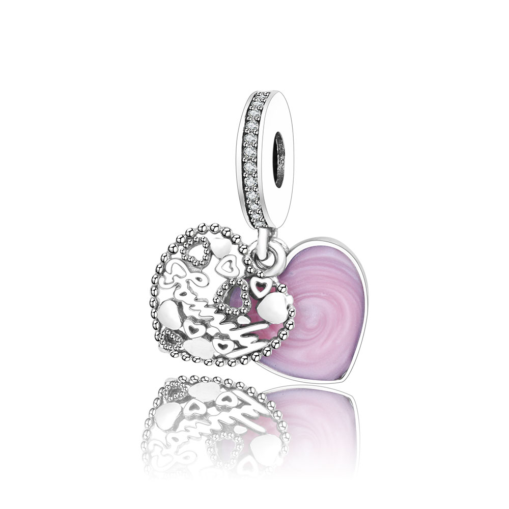 Authentic 925 Steling Silver Charm Beads Heart Love Family Pendant Fit Original Pandora Charm Bracelets DIY Jewelry Berloque