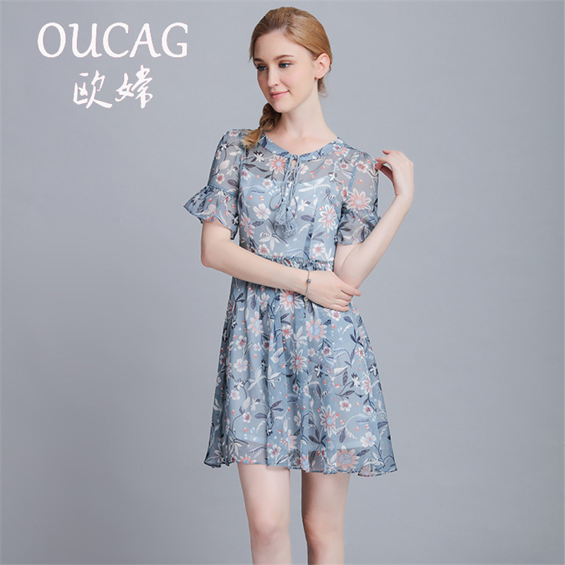 OUCAG 2017 new lotus leaf sleeve floral chiffon loose casual dress women short sleeve o neck summer dreess vestidos