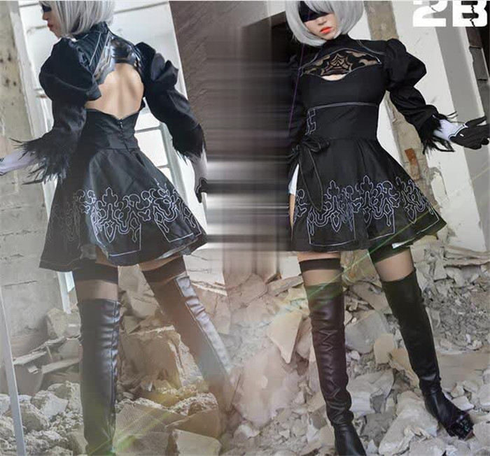 Nier Automata Cosplay Shoes YoRHa 2B Knee Length PU Leather Cosplay Boots Black High Heels Lace-up  A432