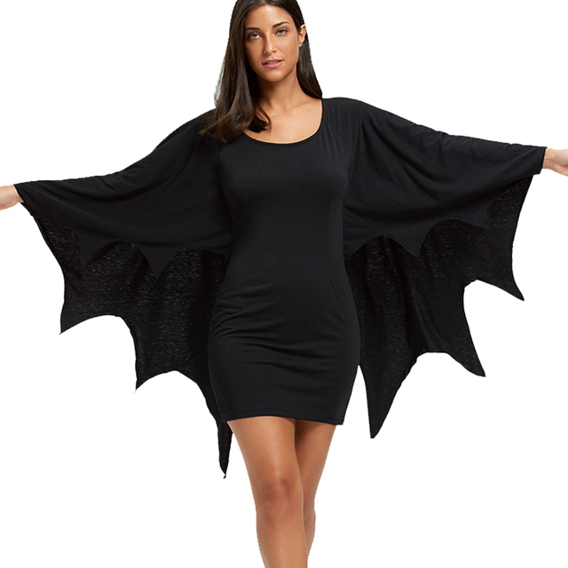 AZULINA Halloween Bodycon Dress with Bat Wings Gothic Style U Neck Long Sleeves Solid Mini Dresses Women Autumn Winter Vestidos 1