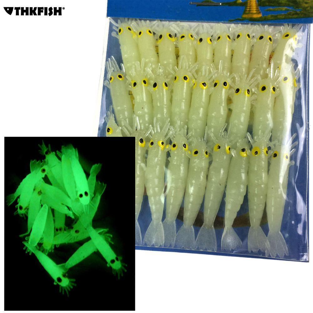 Glow Shrimps Soft Lure Baits 27 Pcs, 1.7in Grub Worms Small Freshwater Lighting Glow in Dark Shrimps Soft Lures